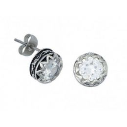ER1307CZ Crystal Barbed Wire Stud Earrings