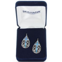 Montana Silversmiths Turquise Cross with Silver Earrings ER3555