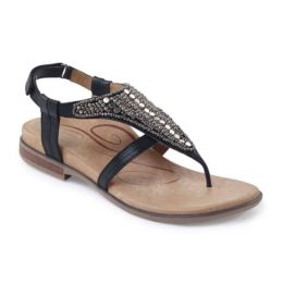 Aetrex Black Sheila Adjustable Back Strap Womens Sandals ES500