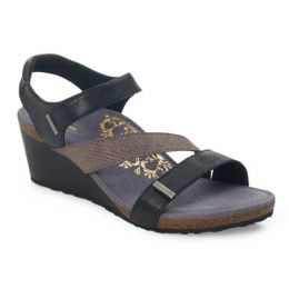 Aetrex Black Brynn Adjustable Strap Womens Wedge Sandals EW110