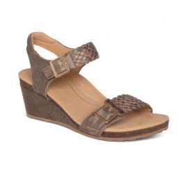 Aetrex Taupe Grace Adjustable Strap Womens Woven Wedges EW164