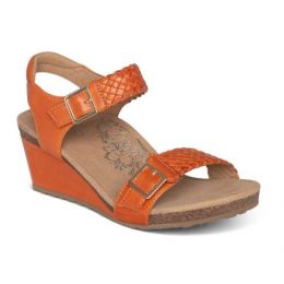Aetrex Tangerine Grace Adjustable Strap Womens Woven Wedges EW168