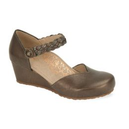 Aetrex Bronze Mia Adjustable Strap Womens Wedge Shoes EW658