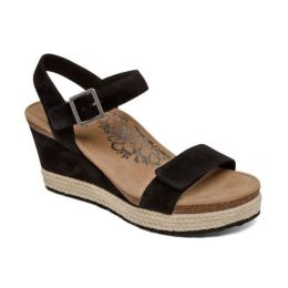 Aetrex Sydney Black Quarter Strap Espadrille Womens Wedge Sandals EW700