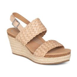 Aetrex Summer Bone Woven Quarter Strap Womens Wedge Sandals EW733