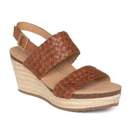 Aetrex Summer Cognac Woven Quarter Strap Womens Wedge Sandals EW734