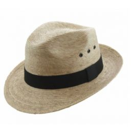 California Hat Company Natural Color Palm Leaf Fedora Hat FD-850