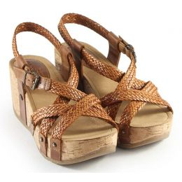 Bussola Cappucino Formentera Woven Cross Straps Womens Wedge Sandals FIDA
