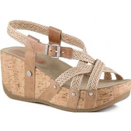 Bussola Doeskin Formentera Woven Cross Straps Womens Wedge Sandals FIDA