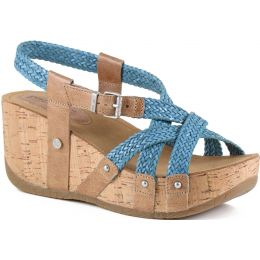Bussola Jeans Formentera Woven Cross Straps Womens Wedge Sandals FIDA