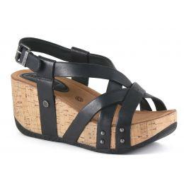 Bussola Gobba Black Fabia Womens Adjustable Back Wedge Sandals FABIA