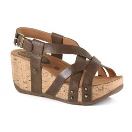 Bussola Gobba Wood Fabia Womens Adjustable Back Wedge Sandals FABIA