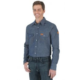 Wrangler FR Flame Resistant Long Sleeve Denim Mens Work Shirt FR12127