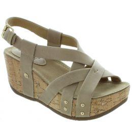 Bussola Light Grey Frida Womens Strappy Wedge Sandals FRIDA-LTGRY