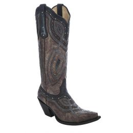 G1263 Brown/Black-Grey Overlay & Stud Western Corral Women's Boots