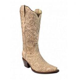 Corral Bone Embroidery Laser Cut Womens Wedding Boot G1388
