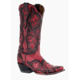 Corral Red/Black Overlay Womens Snip Toe Western Boots G1458