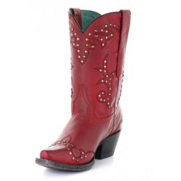 Corral Red Vintage Embroidery and Studs Womens Short Boots G1501
