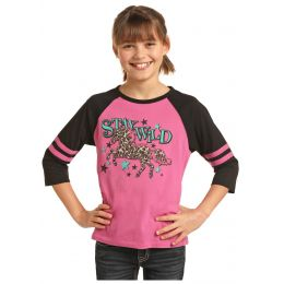 Panhandle Slim Rock & Roll Cowgirl Girls Stay Wild Long Sleeve Shirt G4T3313