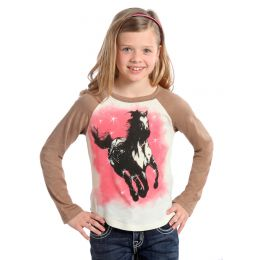 Rhinestone Horse Long Sleeve Knit Rock & Roll Cowgirl Kids T-Shirt