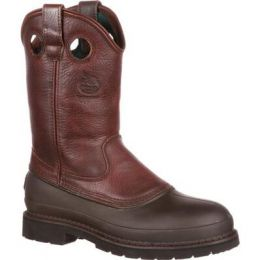 Georgia Boot Soggy Brown Muddog Steel Toe Wellington Men's Work Boot G5655 **ONLINE ONLY