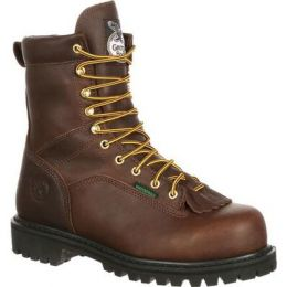 Georgia Chocolate Brown Lace-To-Toe Steel Toe Waterproof Mens Work Boots G8341 **ONLINE ONLY