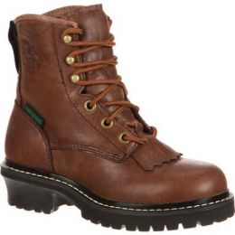Georgia Boot Brown Big Kids Waterproof Logger Boots GB00019 **ONLINE ONLY