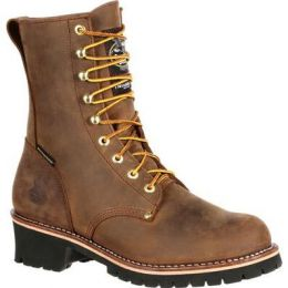 Georgia Boot Brown Steel Toe Waterproof 400G Insulated Logger Mens Work Boots GB00065 **ONLINE ONLY