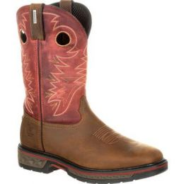 Georgia Boot Brown and Red Carbo-Tec Waterproof Mens Pull-On Boots GB00221 **ONLINE ONLY