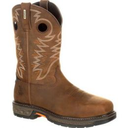 Georgia Boot Brown Carbo-Tec Lt Alloy Toe Waterproof Mens Pull-On Boots GB00224 **ONLINE ONLY
