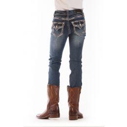GT-6796 Denim Silver Tone Flap Pocket Grace IN LA Girls Jeans