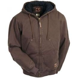 Berne Bark Quilted-Lined Cotton Duck Hooded Mens Work Jacket HJ375-BB