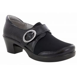Alegria Holli Spiffy Black Womens Comfort Adjustable Strap Casual Heels