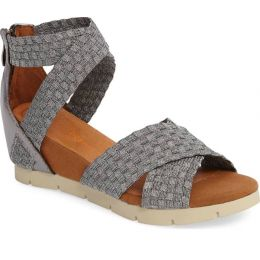 Bernie Mev Pewter Honesty Fabric Womens Comfort Wedge Sandals HONESTY