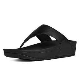 FitFlop Black Leather Toe-Post Womens Sandals I88-001