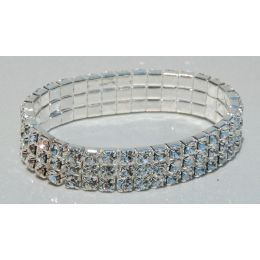 J-156 3 Row Clear Rhinestone Stretch Bracelet.