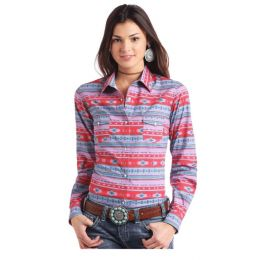 Panhandle Slim Aztec Print Long Sleeve Snap Shirt J2S2953