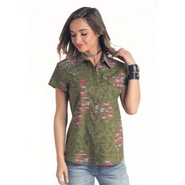 Panhandle Slim Red Label Womens Short Sleeve Button Down Shirt J3B5568