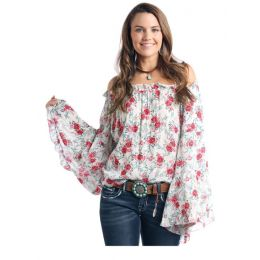 Panhandle Slim Floral Print Peasant Blouse J8-2076