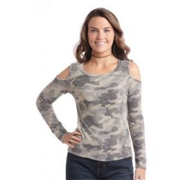 Panhandle Slim Cold Shoulder Camo Pullover Shirt J8-2425-31