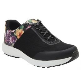 TRAQ by Alegria Women's Black w/Multi Color Flowers Comfort Lace-Up Walking Shoe JAU-5003