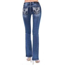 Grace in LA Women's Abstract Embellished Junior Bootcut Jeans JB51511