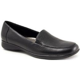 T9521-001 JENN Black Leather Comfort Slip-On Trotters Womens Shoes
