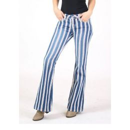 Grace In LA Americana Stripe Low Rise Flare Trouser Jean JL81518