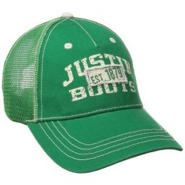 JSM104 Green Justin Boots Mens Mesh Back Ball Cap