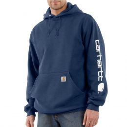K288 Navy Carhartt Men's Midweight Signature Sleeve Hooded Sweatshirt