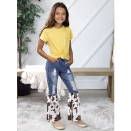 Grace and Emma Cowhide Somewhere Between Western and Wildin Girls Denim Flare Pants K6708E