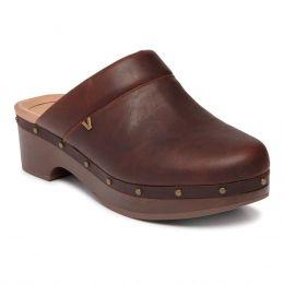 Vionic Chocolate Leather Kacie Womens Comfort Clogs