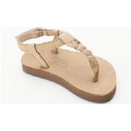 Kid T-Street Sierra Brown Premier Leather Center Braid with Ankle Strap Kids Rainbow Sandals