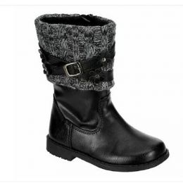 Rachel Kimmy Girl's Black Pull-Up Fashion Boot